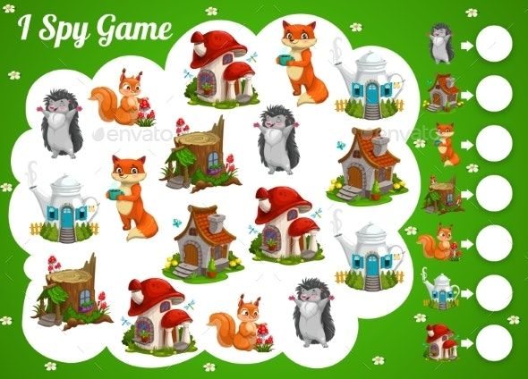 Kids Spy Game Cartoon Fairy Houses and Animals - Buildings Objects