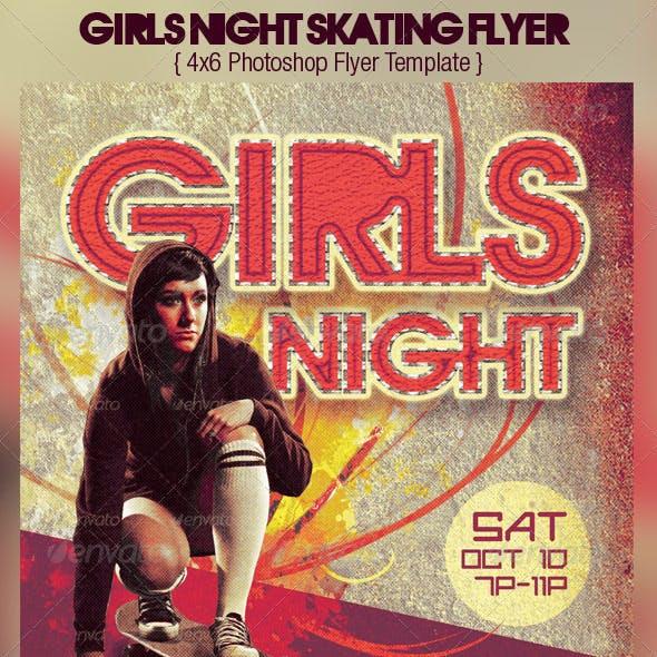 Girls Night Retro Skating Flyer Template