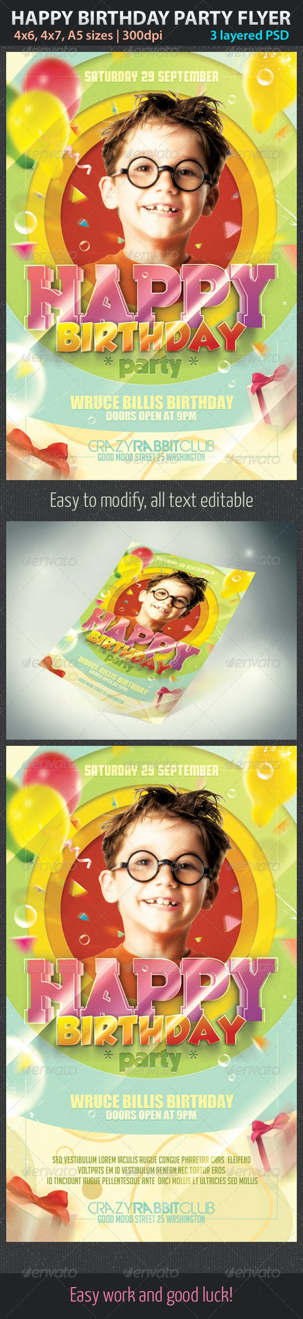 Happy Birthday Party Flyer - Holidays Events