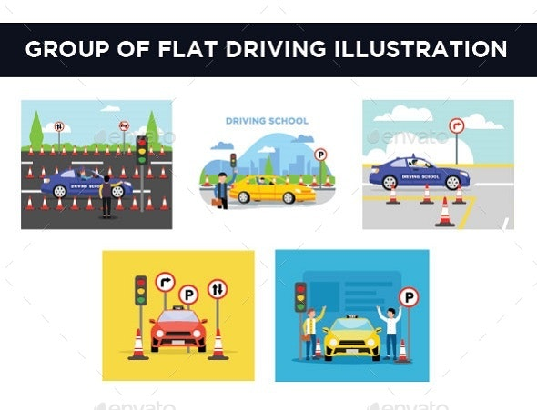 Group of Flat Driving - Objects Vectors
