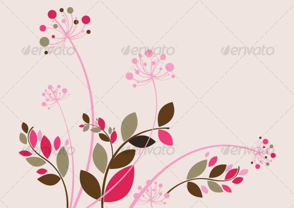 Beautiful Floral Background in Soft Pink - Decorative Vectors
