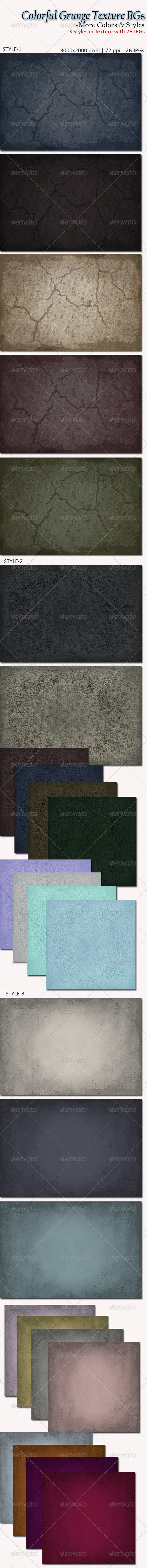 Colorful Grunge Texture BGs- More Colors and Style - Patterns Backgrounds