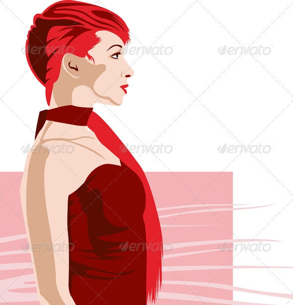 Girl Profile Red Isolated  - People Characters