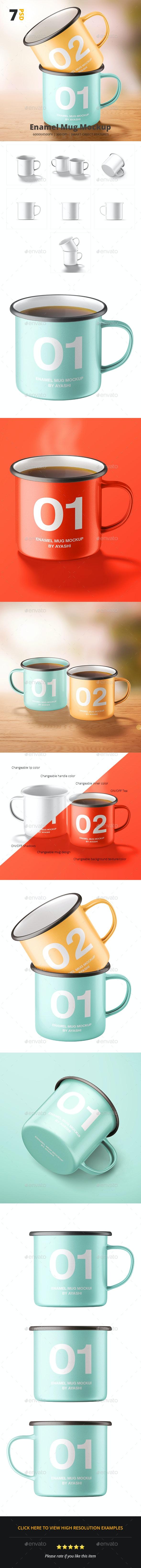 Enamel Camper Mug Mockup - Food and Drink Packaging