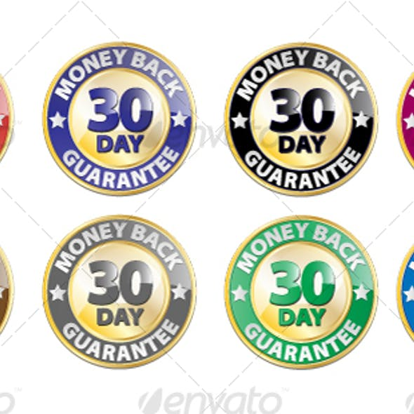 30 Day Money Back Guarantee Vector Icon Set