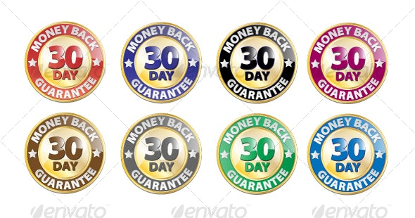 30 Day Money Back Guarantee Vector Icon Set - Man-made Objects Objects