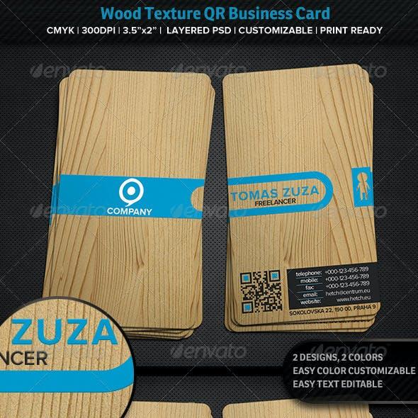 Wood Texture QR Business Card