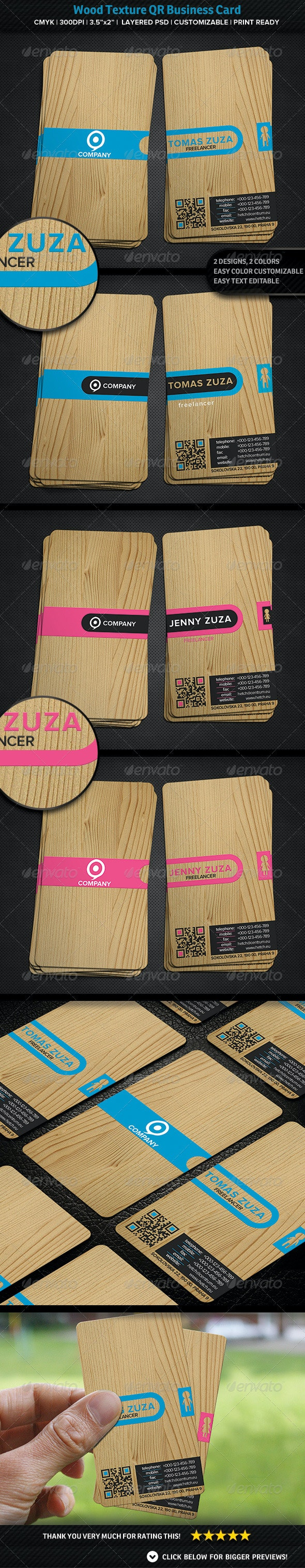 Wood Texture QR Business Card - Creative Business Cards