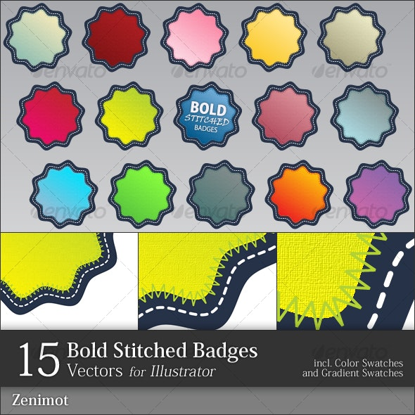 Bold Stitched Badges - Decorative Symbols Decorative