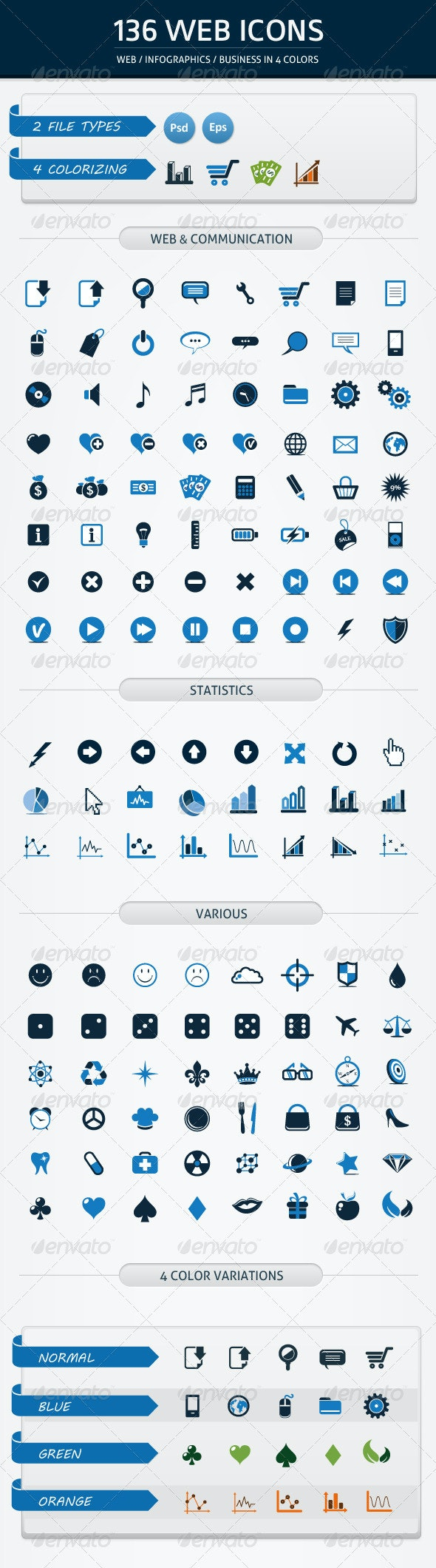 136 WEB ICONS IN 4 COLORS - Web Icons