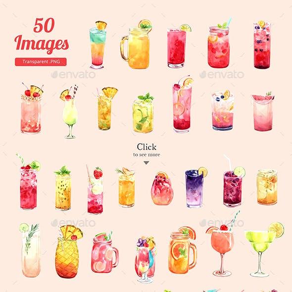Refreshing Summer Drinks Watercolor