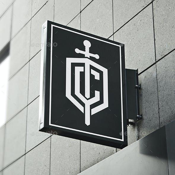 Sword Shield Logo Letter C - Cavalier