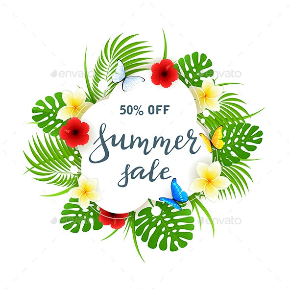 Text Summer Sale on White Card with Butterflies and Flowers - Seasons Nature