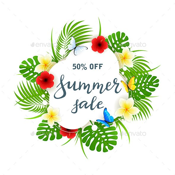 Text Summer Sale on White Card with Butterflies and Flowers