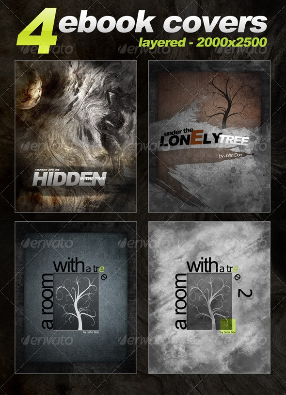 4 eBook Templates - vertical - 2000x2500 - layered - Miscellaneous Web Elements