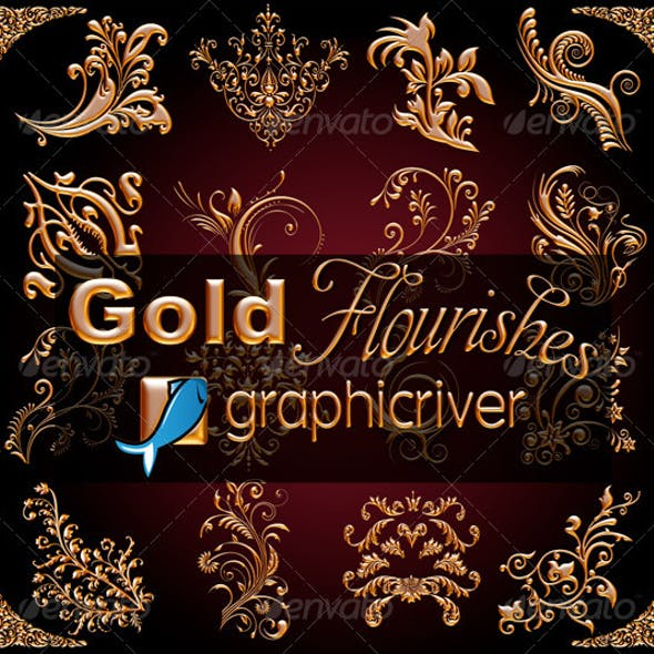 High Resolution Gold Flourishes