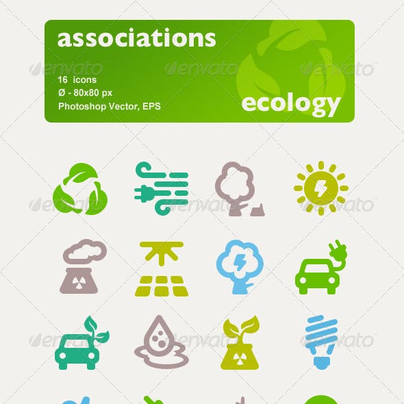 Associations. 16 Ecology Vector Icons.