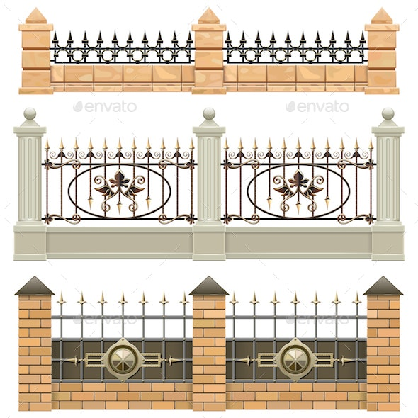 Vector Metal Fence Set 3 - Borders Decorative