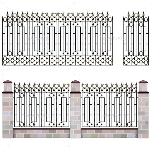 Vector Metal Grill Fence with Gate - Man-made Objects Objects