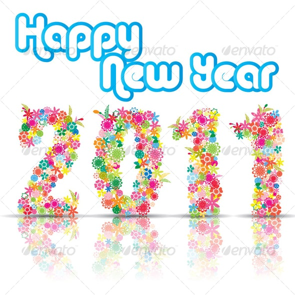 New Year 2011 With Floral Design - New Year Seasons/Holidays