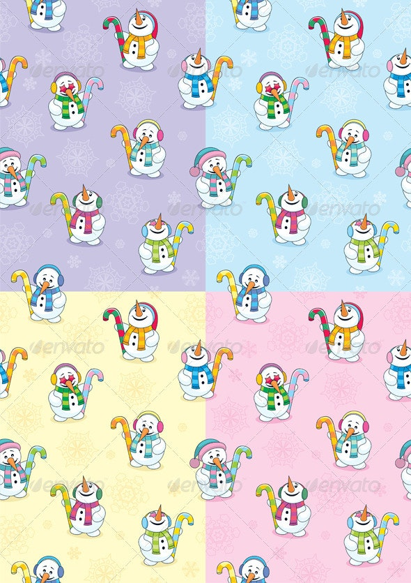 Snowman Seamless Patterns - Backgrounds Decorative