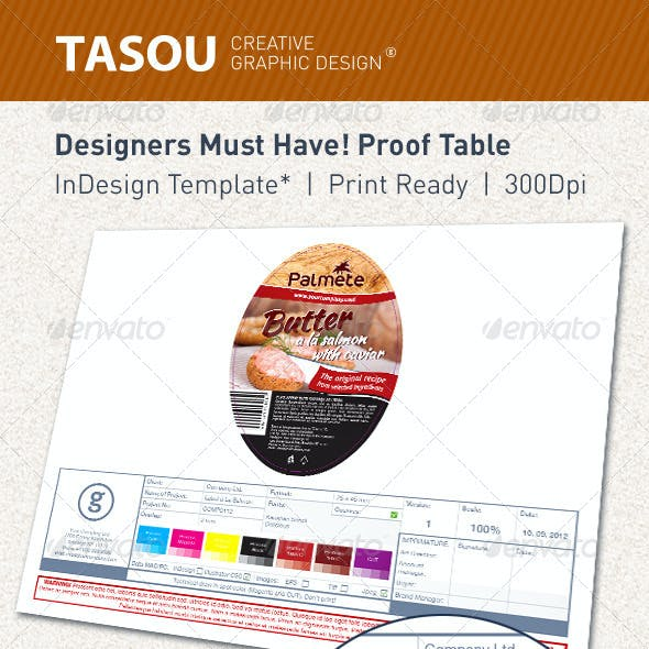 Designers Must Have. Proof Table. Label design.