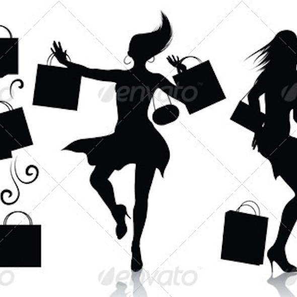 Shopping girl silhouettes