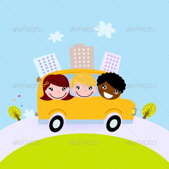 Cute kids in school bus on the hill