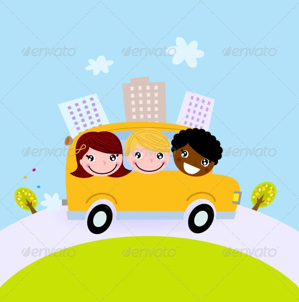 Cute kids in school bus on the hill - Travel Conceptual
