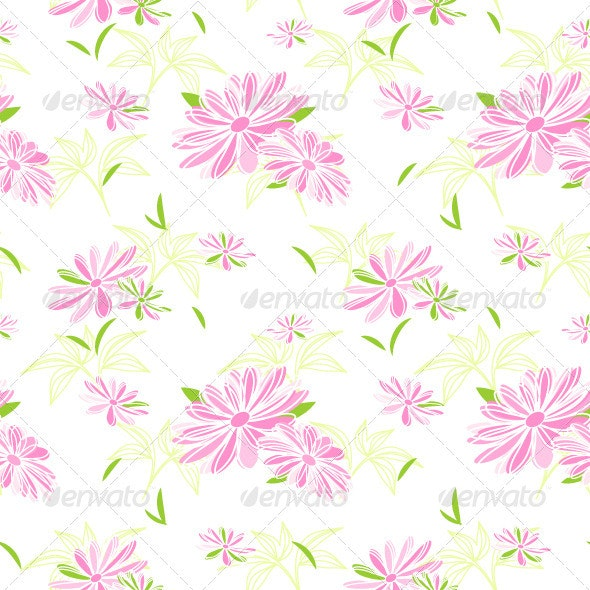 Colorful Flower Seamless Pattern Background - Patterns Decorative