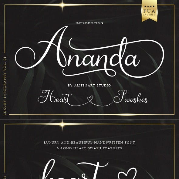 Ananda Lovely Handwritten Font + Heart Swashes