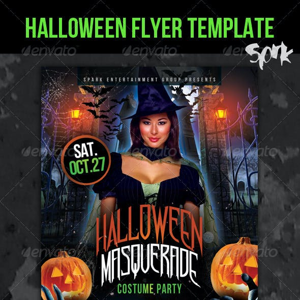 Halloween Masquerade Costume Party Flyer Template