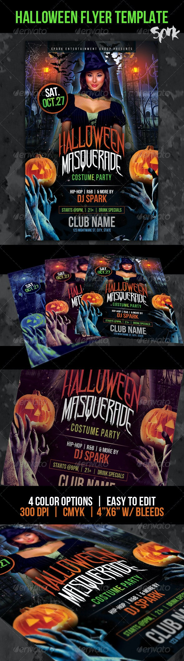 Halloween Masquerade Costume Party Flyer Template - Clubs & Parties Events