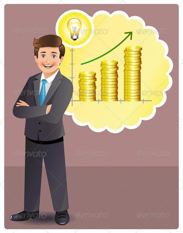 Businessman has a Profitable Idea - Concepts Business