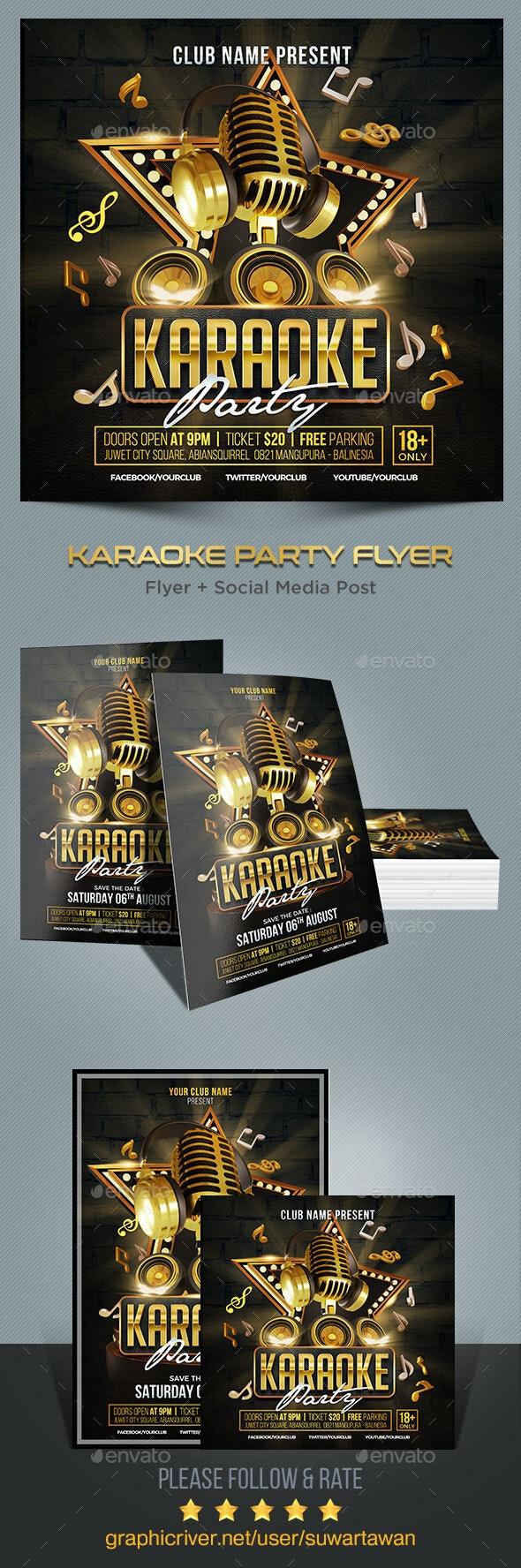 Karaoke Party Flyer - Print Templates