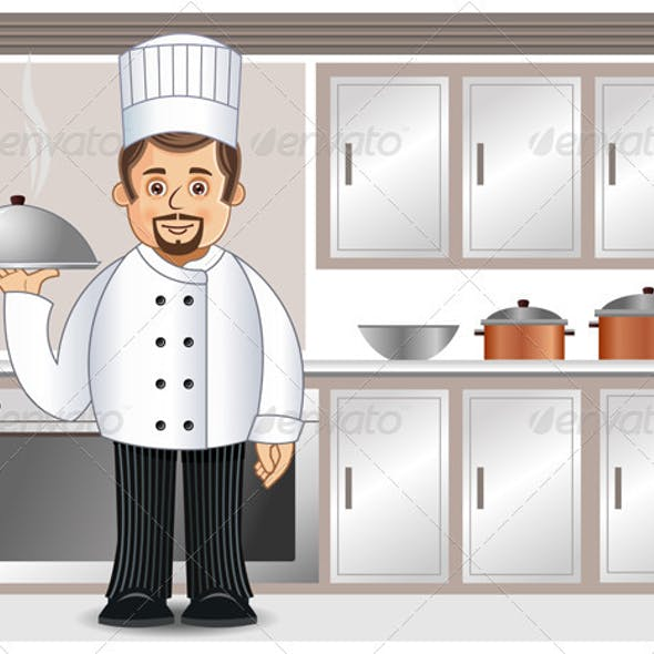 Chef with Steaming Cuisine in a Kitchen