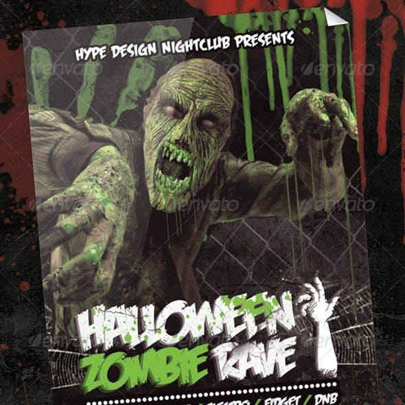 Halloween Zombie Rave Nightclub Event Poster or Fl