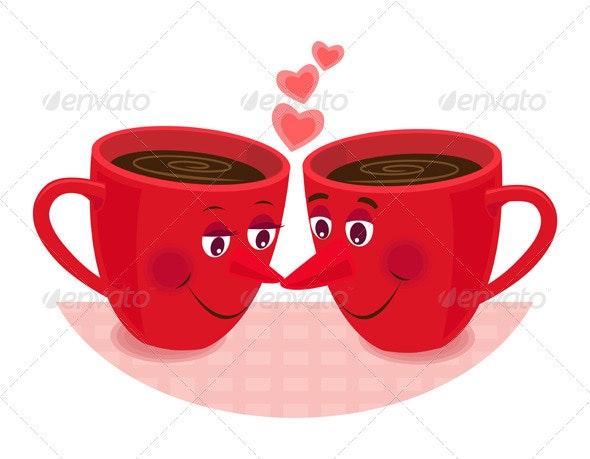 Concept Showing Teatime Romance - Conceptual Vectors