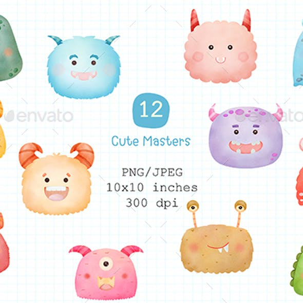 Cute Monster Watercolor Clipart