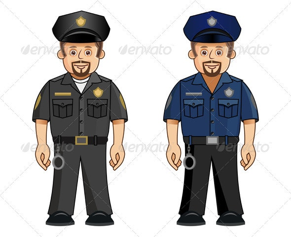 Cop in 2 Different Colored Uniforms - People Characters