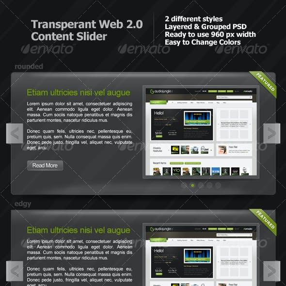 Transparent Web 2.0 Content Slider