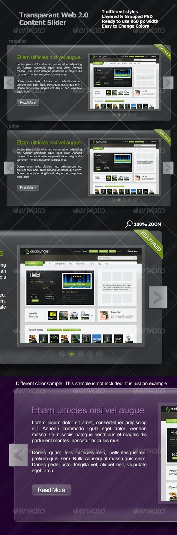 Transparent Web 2.0 Content Slider - Web Elements