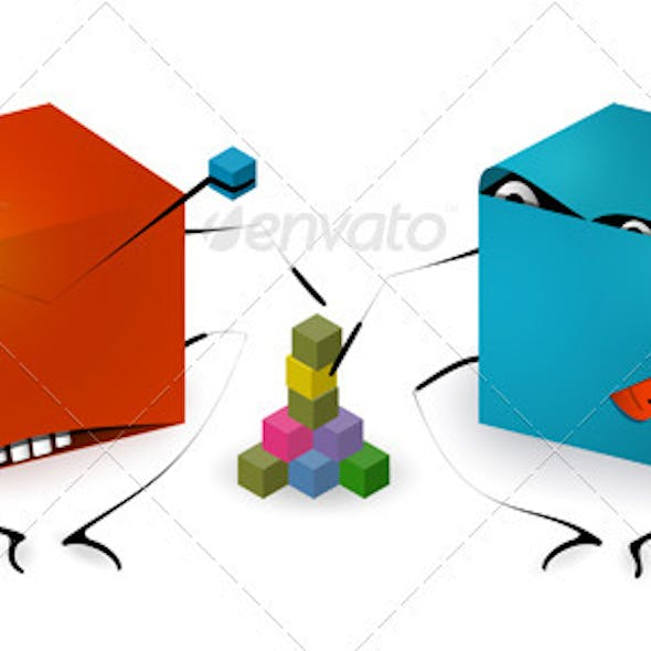 Funny Toy Blocks Playing