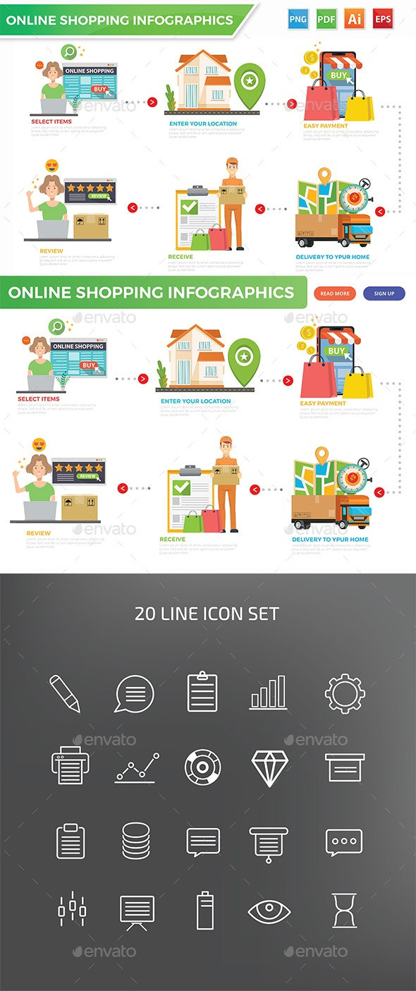 Online Shopping Infographics - Infographics