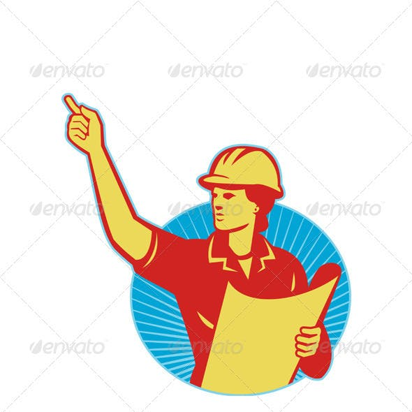 Female Engineer Construction Worker Pointing Retro