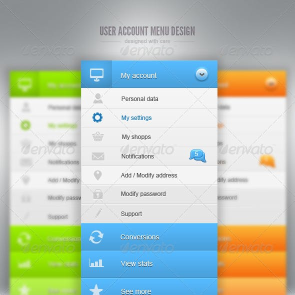 User Account Menu Design