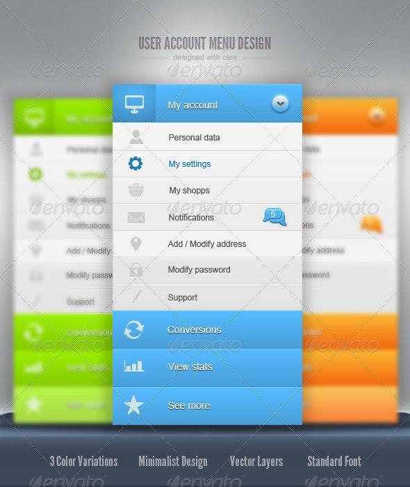 User Account Menu Design - Navigation Bars Web Elements