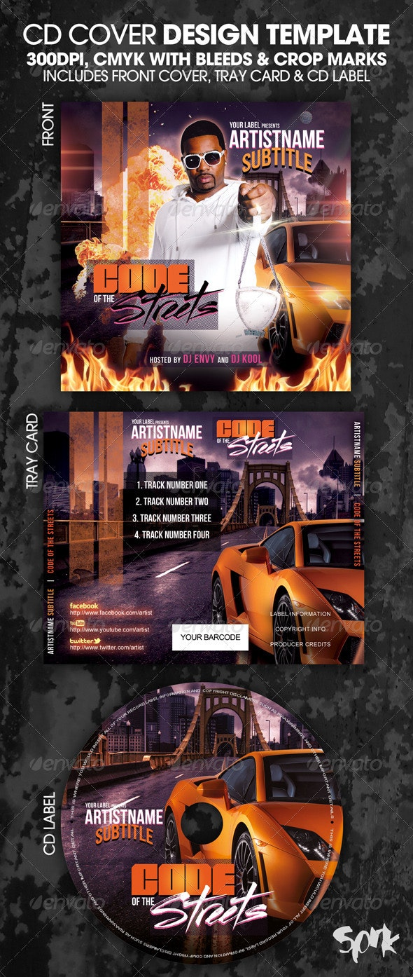 Code of The Streets CD Mixtape or Flyer Template - CD & DVD Artwork Print Templates