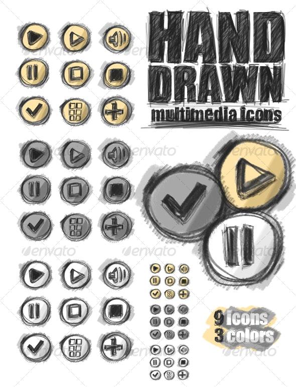 Hand Drawn Multimedia Icons - Web Icons