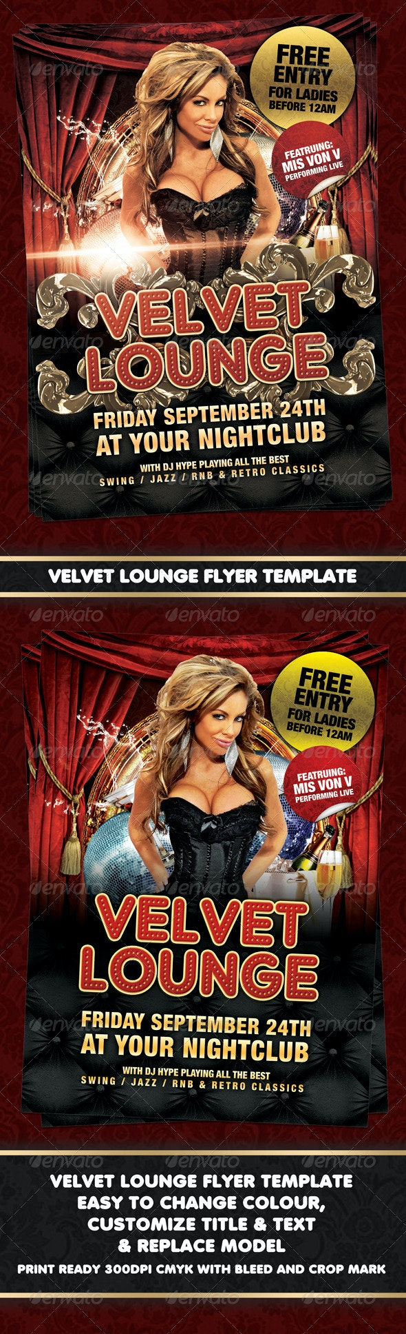 Velvet Lounge Poster or Flyer Template - Clubs & Parties Events